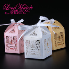 50pcs Pink/White/Golden Eiffel Tower Laser Cut Candy Box Gift Box Wedding Favors And Gifts Party Supplies Wedding Decoration