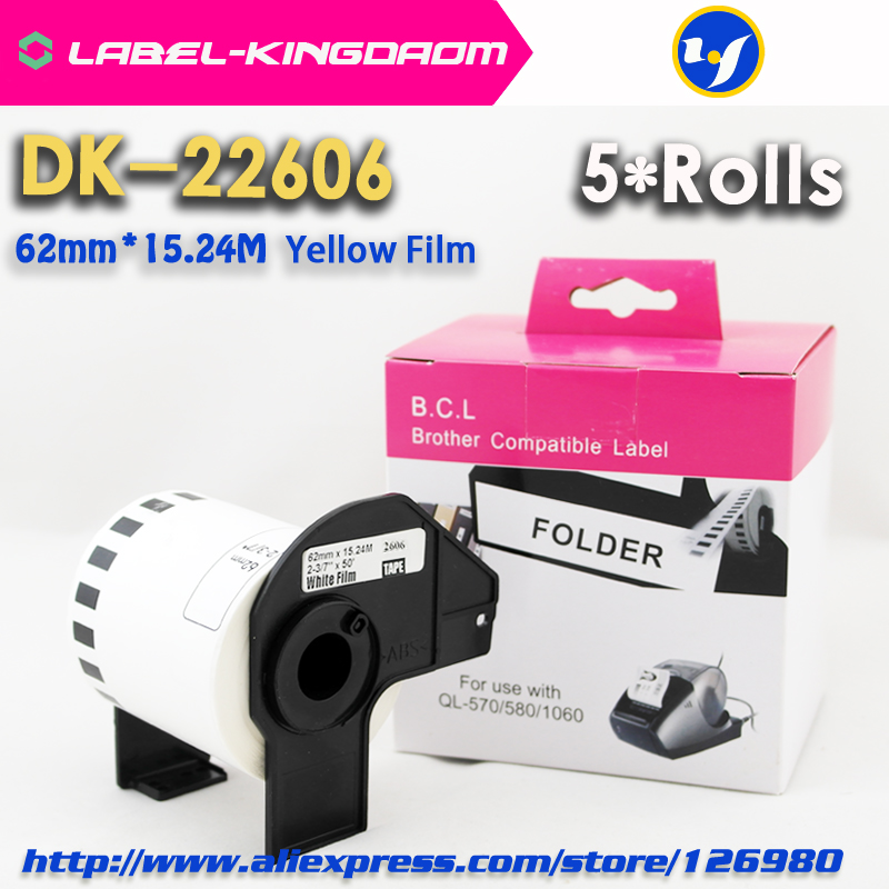 5 Rolls Brother Compatible DK-22606 Yellow Film Label 62mm*15.24M Compatible For QL-570/700 Printer All Come With Plastic holder