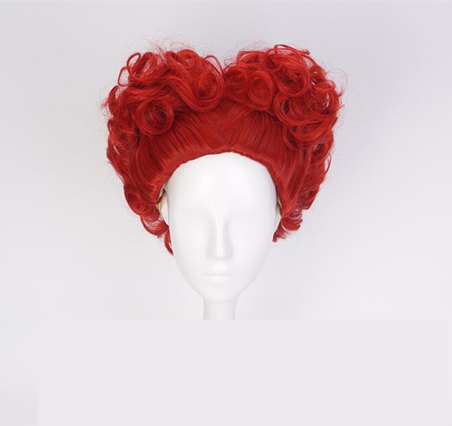 2018 Alice in Wonderland Red Queen Wig Role Play Hair Queen of Hearts Costume Red Hair Halloween Party Concert