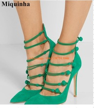 Women Fashion Pointed Toe Green Suede Leather Straps Pumps Elegant Super High Heels Formal Dress Shoes Wedding Shoes
