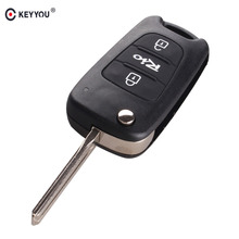 KEYYOU 3 Buttons Replacement Remote Key Case Blank Cover Flip Folding Car Key Shell For Kia Rio Car Key(China)
