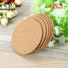 JosheLive 6pcs/Lot Heat Resistant Wood Round Shape Coffee Cup Mat Cork Coaster Mat Tea Drink Wine Pad Table Decor