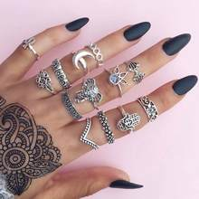 TOMTOSH New 13 PCS/ Set Bohemian Jewelry Wedding Ring Elephant Moon Fatima Hand Crystal Fan Safe Hollow Flower Vintage Rings(China)