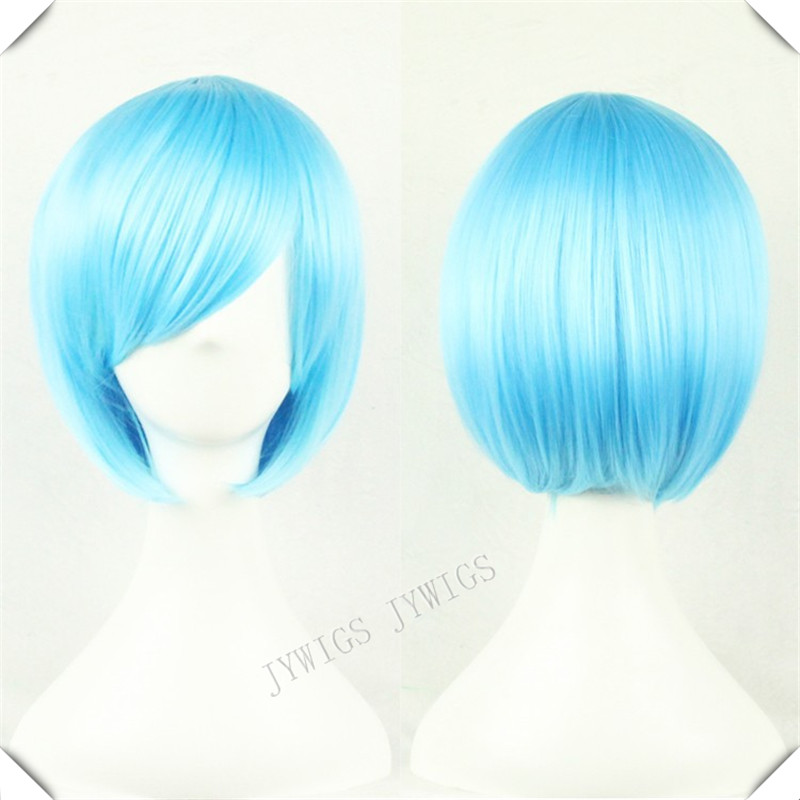 Light Blue Wig  Short Bob Cosplay Synthetic Fiber  Womens  Wavy  Wig 1PCS Sexy Party Costume Light Blue Wig<br><br>Aliexpress