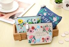 Fresh Style 11x10cm Capacity Small Flower Printing PU Waterproof Coating Coin Bags Women Make Up Cases Drop Shipping