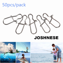 JOSHNESE Brand 50PCS High Quality Stainless Steel Hook Lock Snap Swivel Solid Rings Safety Snaps Fishing Hooks Connector(China)