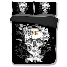 3D Skull Bedding sets Plaid Duvet Covers for Twin Full Queen King Size Bed Europe Style Sugar Skull Bedding Duvet Cover