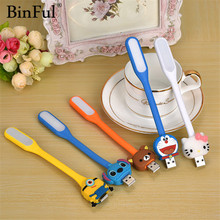 BinFul Mini Bendable Cartoon USB LED Lamp Portable Keyboard USB Light for Notebook Laptop,Power Bank Adapter Wall/Car Charger(China)