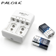 2pcs 9v 300mAh Ni-MH Rechargeable 9 Volt NiMH Battery + Universal 9v aa aaa NI-MH NI-CD PALO battery charger