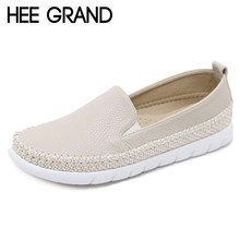 8caa9f319d2 HEE GRAND Straw Weave Loafers Platform Shoes Woman Slip On Flats Casual  Comfort Creepers Women Shoes Plus Size 35-42 XWD7083