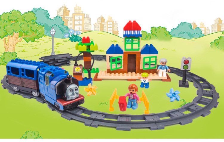 00 110 Pieces Electric Thomas Track Educational Large Particles Assembled Toy Building Blocks For Kids Compatible Legos HM318