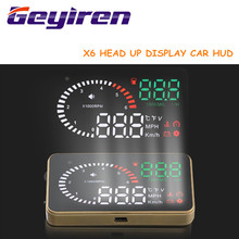 "GEYIREN Digital Car Speedometer Auto Car HUD Head Up Display Windshield Project KM/h MPH GPS Speedometer Over-speed Alarm X6 3""(China)"