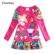2-6 Years Little Girls Dress Spring Cotton Cute Full Sleeves Kids Nightgown casual pajamas Children Clothing Girl Clothes