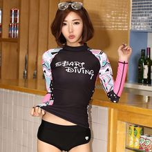 Sunscreen sbart female split swimwear snorkel submersible quick-drying clothes sports long-sleeve aureateness(China)