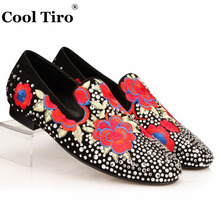 Cool Tiro White Strass Men Loafers Leather Embroidery Crystal Slippers Slip on Black Suede Men's Dress Shoes Casual Man Flats(China)