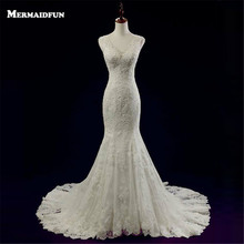 2017 Vestido De Noiva New Elegant Mermaid Sweetheart Lace Wedding Dress With Train Sheer Back Button Wedding Gown Bride Dresses(China)