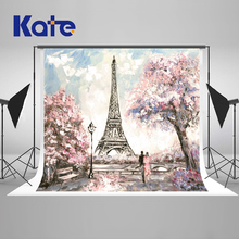 10x10ft Kate Eiffel Tower Wedding Background Photo Studio Retro Pink Flowers Scenic Photography Backdrops Romantic Backgrounds(China)