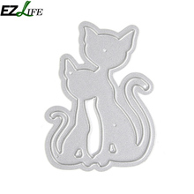 Metal Cutting Dies For Scrapbooking Stencils DIY Cat Couple Album Cards Decoration Embossing Folder Die Cutter Template LQW1474