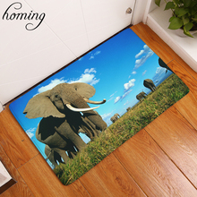 Homing Water Absorption in Front of Door Mats African Elephant Family Pattern Carpets Light Thin Flannel Living Room Carpets(China)
