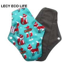 LECY ECO LIFE bamboo charcoal fleece inner cloth menstrual pads for regular flow, women reusable napkin pads Christmas gift(China)