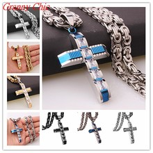 Buy Granny Chic 316L Stainless Steel Silver Gold Black Color Crystal Cross Pendant Necklaces 6mm Heavy Byzantine Chain Men Necklace for $8.09 in AliExpress store
