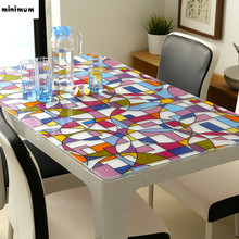 PVC waterproof tablecloth Soft glass tablecloth Colorful circle Frosted mats Coffee mats Crystal plate 1mm free shipping(China)