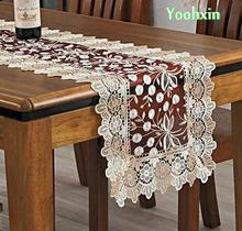 Luxury Lace Embroidery bed Table Runner flag cloth cover rectangular tablecloth Christmas Mantel Xmas party Home Wedding decor(China)