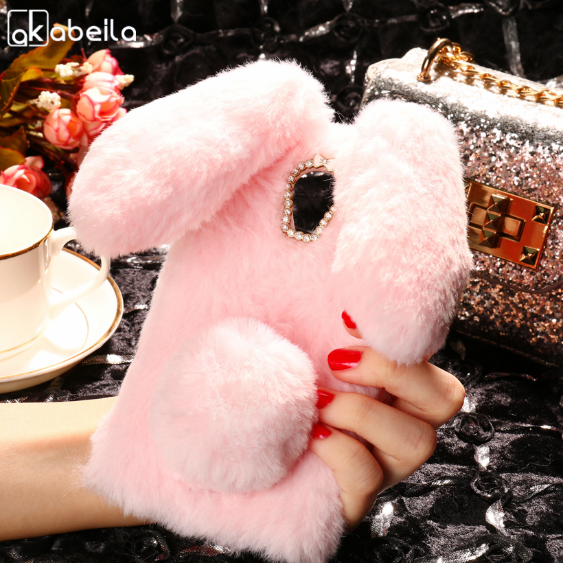 AKABEILA Silicon Case WiKo U FEEL Cases Rabbit Hair Bling Diamond BLU R1 HD Soft TPU Cute Anti-knock Cover