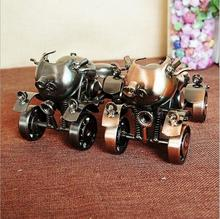 Decorative Craft four-wheel Metal Motorcycle Model Handcrafts Ornaments Metal Motorcycles Iron Motorbike Gifts Wheel can be Move