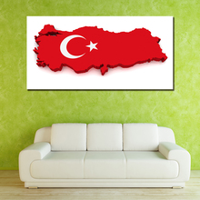 Unframed 1 Piece Turkey Map Modern Wall Painting Art Picture Paint on Canvas Wall Pictures Home Decor