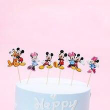 24pcs Mickey Minnie flag kids birthday party cake decoration cake toppers masked man cake picker happy birthday party supply(China)