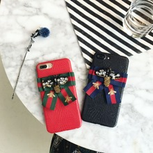 For iphone 6 Case Bee Bow Color Ribbon Imitation Leather Fashion Protection Cover For Apple 6/6s/6plus/6splus/7/7plus/8/8plus