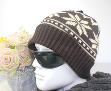 Korean Style Men Winter Beanie Hats Big Snowflake Jacquard Pattern Knitted Beanies Male Casual Winter Cap Acrylic Bonnet AHT308(China)