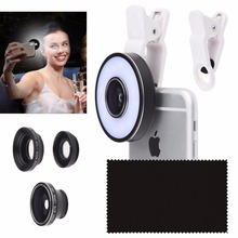 Camera Lens Kit with LED Ring Light for Phone / Tablet  Universal Fisheye Wide Angle and Macro Lens for Apple iPhone SE/6/6S iPa