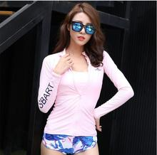 SBART Korean female swimwear snorkeling diving suit body sunscreen clothing surf wear long sleeved swimsuit with jellyfish pad