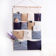 Hanging Storage Pocket Wardrobe Organizer Bag Multi-layer Holder Wall Hanging Storage Bags Makeup Rack Linen Jewelry Bags Dolap(China)