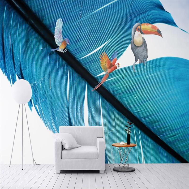 Custom Modern Wallpaper Concise Feather Parrot Photo Wallpaper for Kids Environment Friendly 3d Wall Murals Thicken Wall Mural <br>