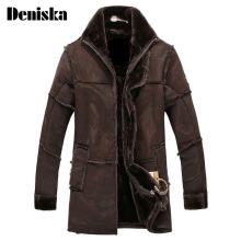 European Style Thick Warm Winter Mens Faux Fur Coat Long Leather Jacket Mens Sheepskin Coat Suede Jacket Brown(China)