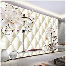 3d photo wallpaper custom 3d wall murals wallpaper White jade carved flower mural soft-pack TV background wall paper home decor(China)