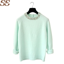 Women Sweaters And Pullovers Crystal Beading Knitted Sweaters Poncho Pull Femme Hiver Jersey Mujer Invierno Christmas Sweater(China)