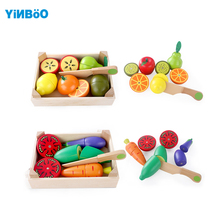 Wooden Kitchen Toys Cutting Fruit Vegetable Play Girls'Toys baby early education food toys cooking toy kids kitchen(China)