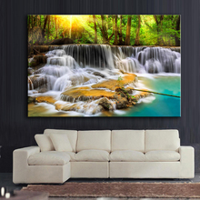 HDARTISAN Printing Oil Wall painting Thailand Creek stones Cascades River Wall Art Picture For Living Room Home Decor Landscape(China)