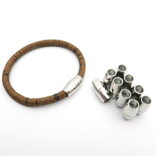 5pcs For 5mm round Leather magnet clasps Supplies Antique Silver bracelet Components Findings D-6-14(Portugal)