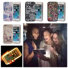 Fashion Flowers Illuminated Selfie Case light up LED cell phone cases coque for iPhone 5 5S SE 6 6s plus hard back cover fundas(China)