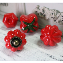 10PCS Red series ceramic Single hole knob American style Cabinet Knobs Cupboard Handles Furniture Drawer Knobs Handle