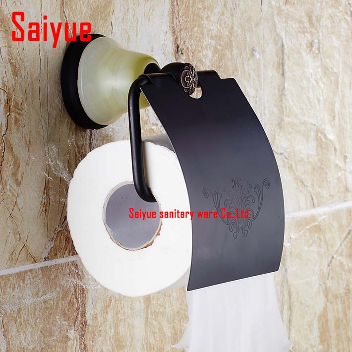 2017 new arrival Oil rubbed bronze  Toilet Paper Holder Tissue Holder,Solid Brass &amp; jade made -Bathroom Accessories Products<br><br>Aliexpress