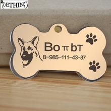 Free engraved gold dog tag gold black dog military tag 90 models dog face beautiful personalized pet tags pendent free bell gift(China)