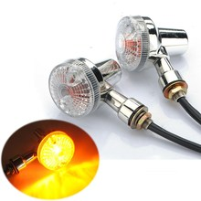 2x Front & Rear Chrome Universal Motorcycle Turn Signals Indicators Lights Amber(China)