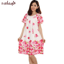 Plus Size Nightgowns For Women Long Cartoon Girls Nightshirts Nightdress Cotton And Silk Sleepshirt Summer Dressing Gowns E0021(China)