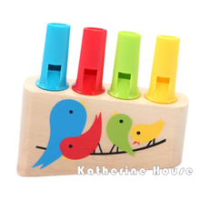High Quality Baby Wooden Toys Rainbow Panpipe Wood whistle Birds Whistling Multicolor Infant Musical Toys Early Eduactional Gift(China)